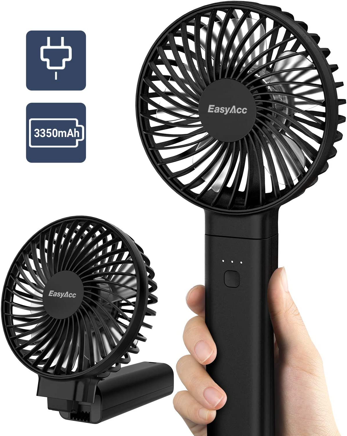 Handheld Fan, EasyAcc 3350mAh Battery Fan 2020 Upgraded Portable Fan with Unique One Touch Power Off USB Desk Fan 3-17 Hours 4 Speeds Strong Winds Personal Cooling Fan for Home Office Outdoor-Black