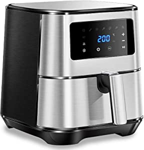 LJXiioo Air Fryer,Hot Air Fryer 3.5 L, Fryer Without Grease, 1500W Mini Fryer, LCD Display, Timer & Adjustable Temperature Control for Low Fat Cooking