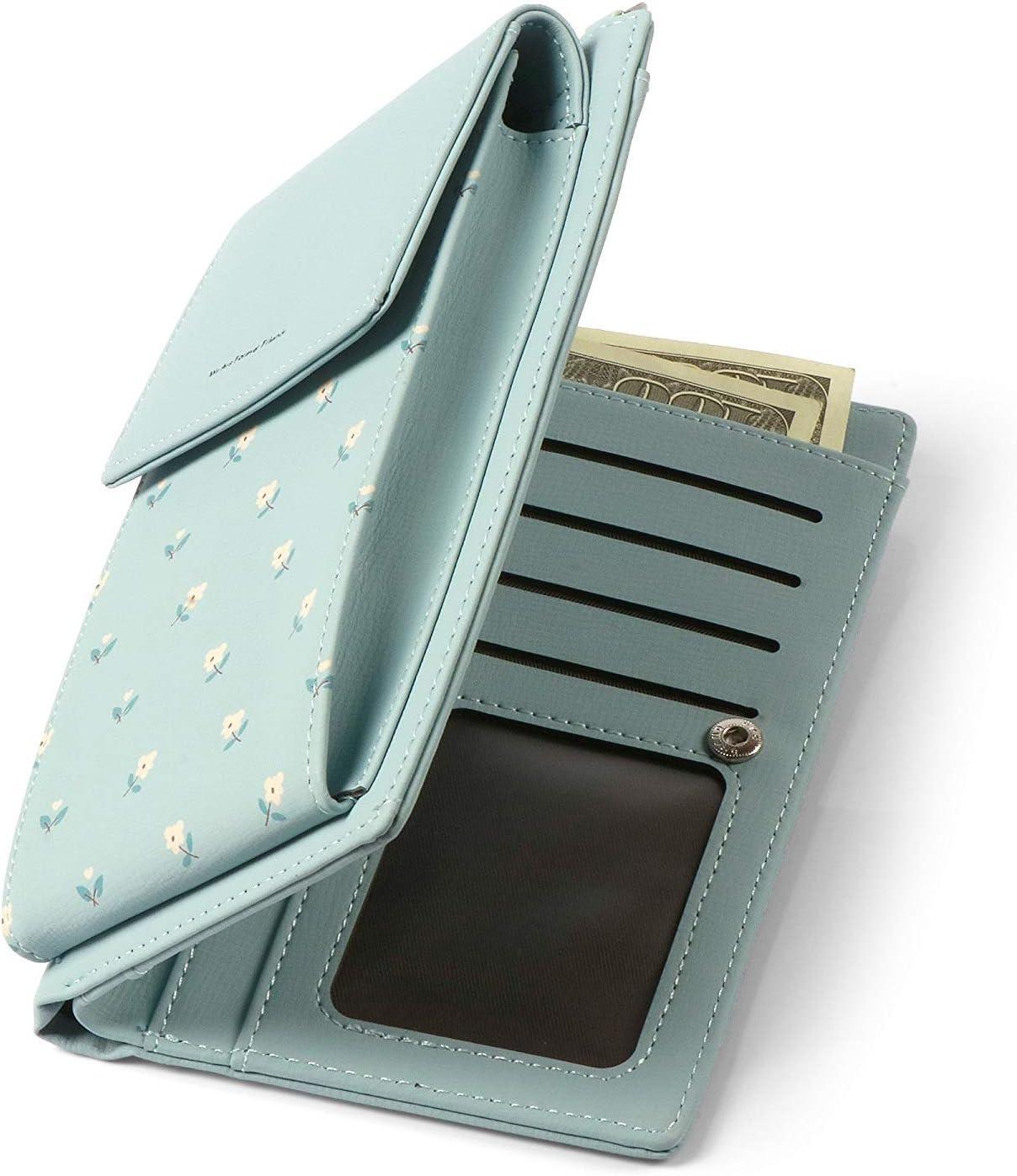 HMILYDYK M/ädchen Umh/ängetasche Floral Leder Mini Tasche Handy Telefon Geldb/örse Kartenhalter Geldb/örse Mini Schultertasche