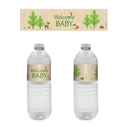 Amazon Woodland Animals Baby Shower Water Bottle Labels Set Of