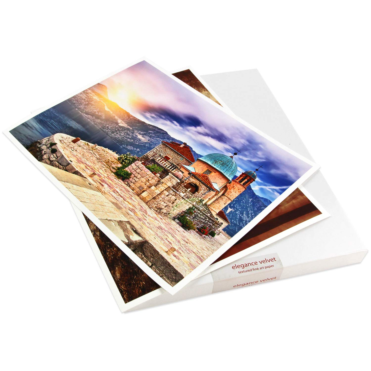 Elegance Velvet 17 in x 22 in, 25 Sheets is a Premium Matte 310 gsm, Cold Pressed Bright White Museum Grade Fine Art Inkjet Paper, Compatible with Most Dye-Based and Pigment Printers
