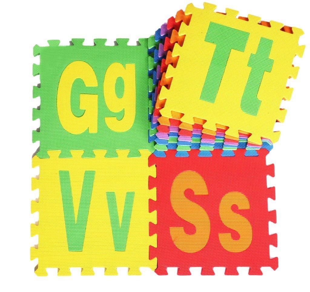 JTC 26 Stk. Babys Spielmatte Schaumstoffmatte Matte Puzzlematte Kinderteppich Majuskel und Minuskelbuchstabemuster