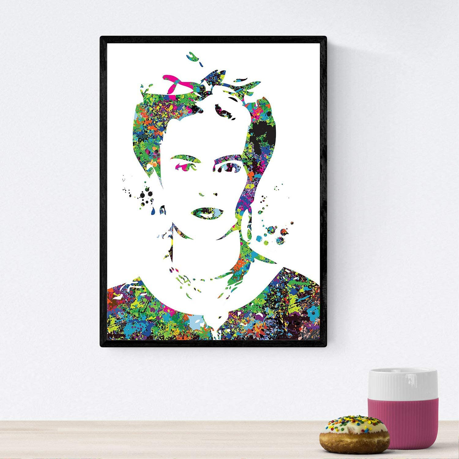 Nacnic Poster Frida Kahlo watercolor style. Tropical wall art, Mexican decorations for home , Mexican wall decor , Aztec art , Chicano art, Mexican Painter Mix with watercolor style sheets for interior decoration. 8'x11' size