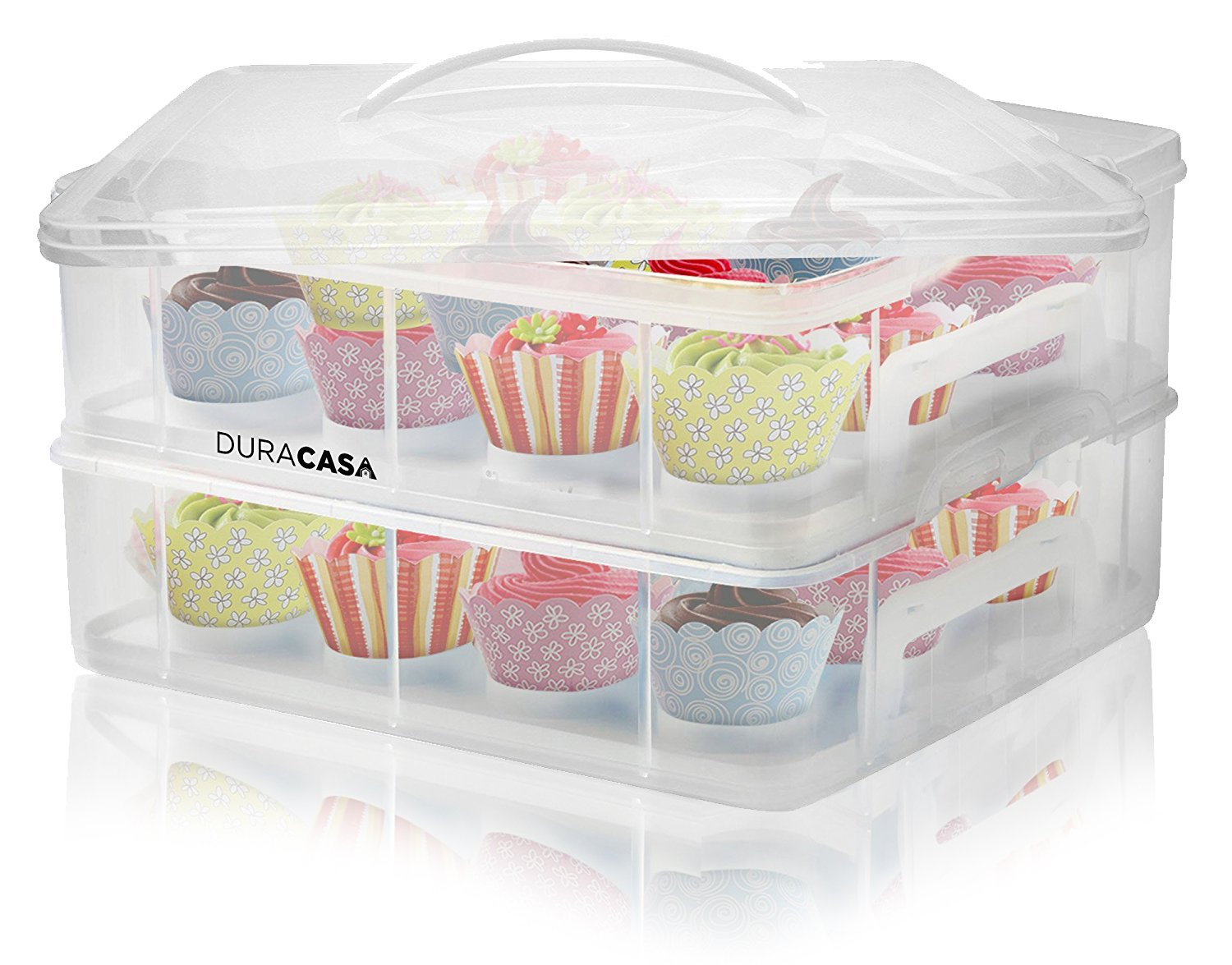 DuraCasa Cupcake Carrier | Cupcake Holder | Store up to 24 Cupcakes or 2 Large Cakes | Stacking Cupcake Storage Container | Cupcake, Cookie, or Cake Dessert Carrier (White)
