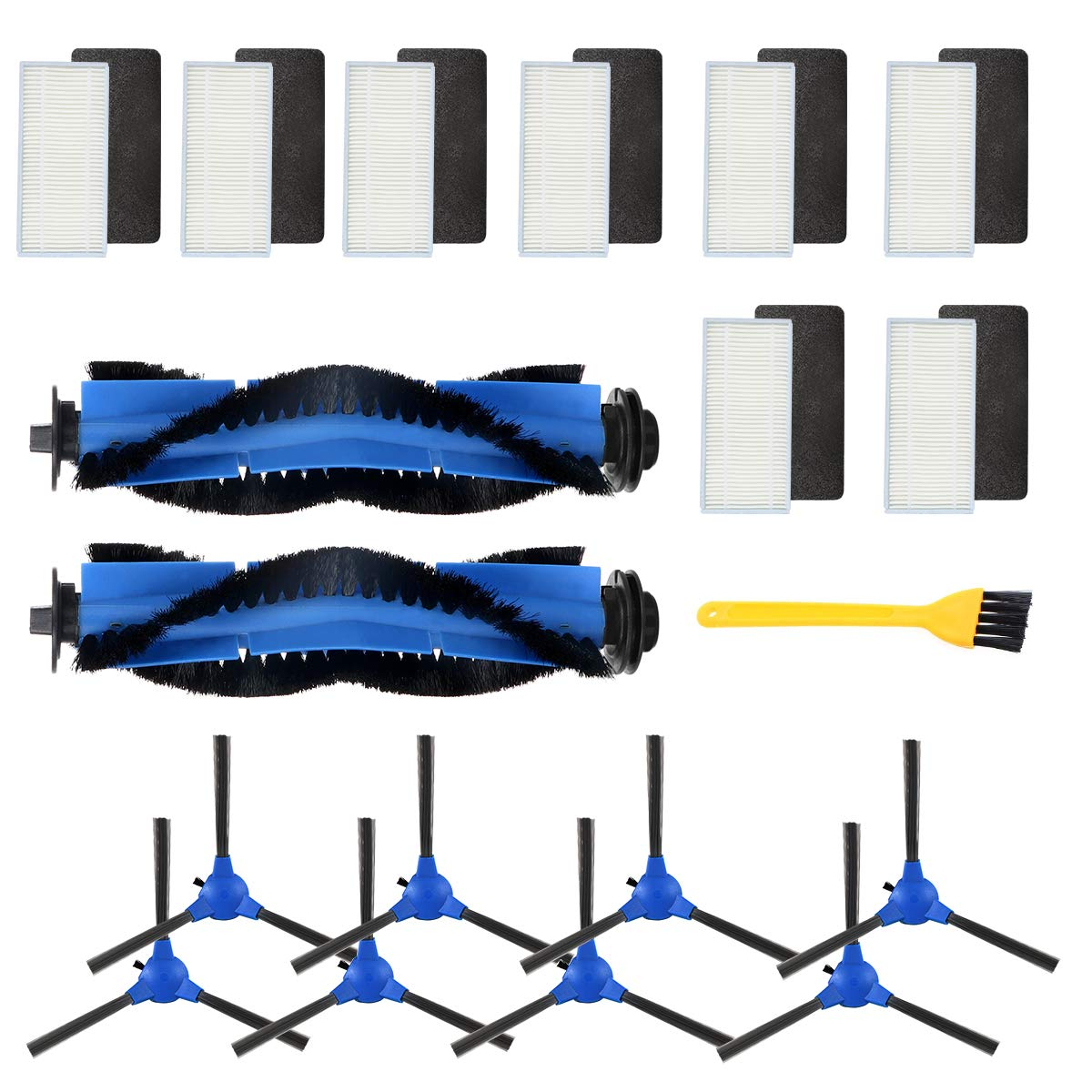 Wigbow Accessories Kit Compatible with eufy RoboVac 11S, RoboVac 30, RoboVac 30C, RoboVac 15C, Accessory Robotic Vacuum 8 Cleaner Filters, 8 Side Brushes, 2 Rolling Brush. (Blue 8821)