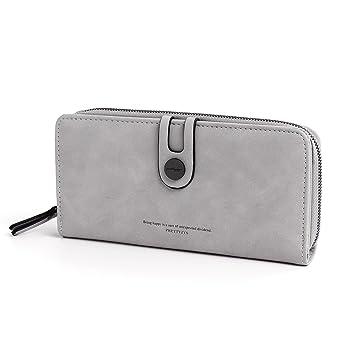 OURBAG Monedero de cuero Vintage Bifold Bolso de embrague Titular de la tarjeta de crédito Billetera larga para mujer Gris