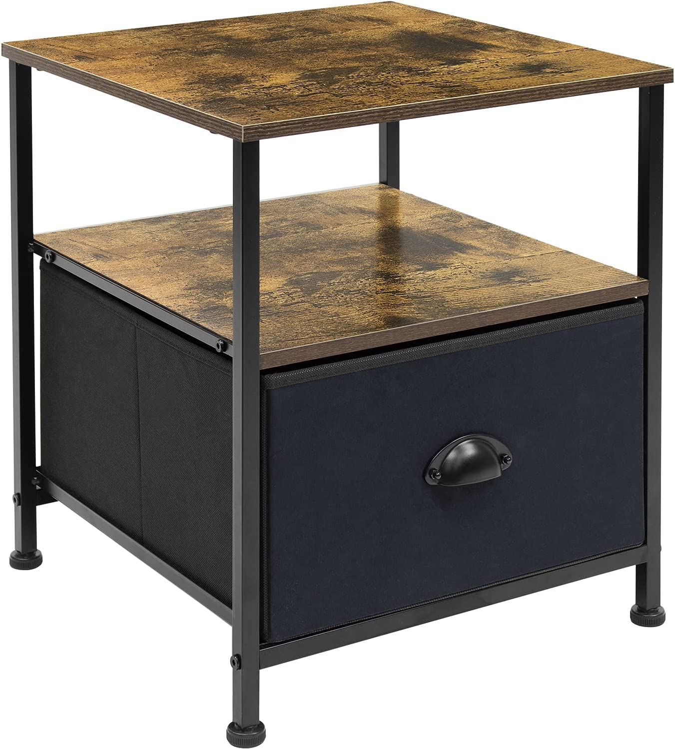 Sorbus Nightstand Bed Side Table, Bedroom Small End Table 1-Drawer Shelf Storage- Furniture Chest Stand for Home, Office, College Dorm, Steel Frame, Fabric Bins, Rustic Wood Top