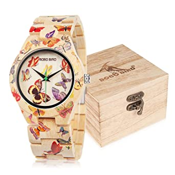 BOBO BIRD Womens Bamboo Watch Butterfly Engraved Handmade Wooden Casual Watches
