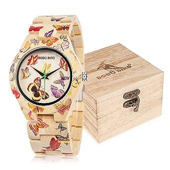 BOBO BIRD Womens Bamboo Watch Butterfly Engraved Handmade Wooden Casual Watches