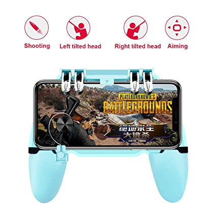 2 in 1 PUBG Game Trigger Controller ESTORM-6 Finger Gamepad,High Sensitive  Metal Button and Agile Joystick, Mobile Phone Holder for iOS &