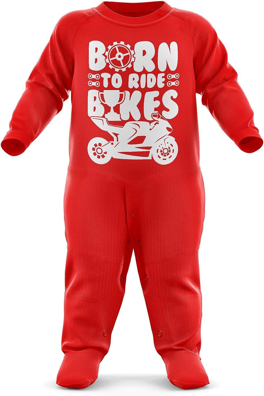 Motorbike Baby Romper Suit Motorcycle Babys First Birthday Present FunkyShirt Born to Ride Bikes Babygrow Newborn Romper