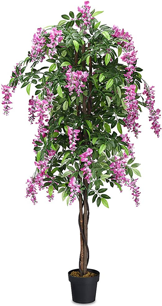 Goplus 8FT Fake Wisteria Tree Artificial Greenery Plants in Nursery Pot  Decorative Trees for Home, Office, Lobby