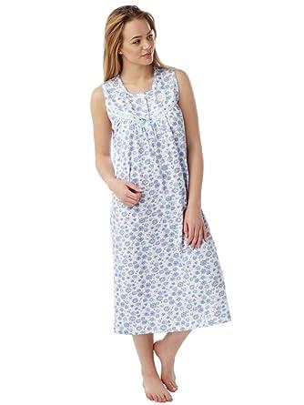 b8a4cb4e80 Ladies Sleeveless 100% Cotton Nightdress 8-10 Blue Floral Print ...