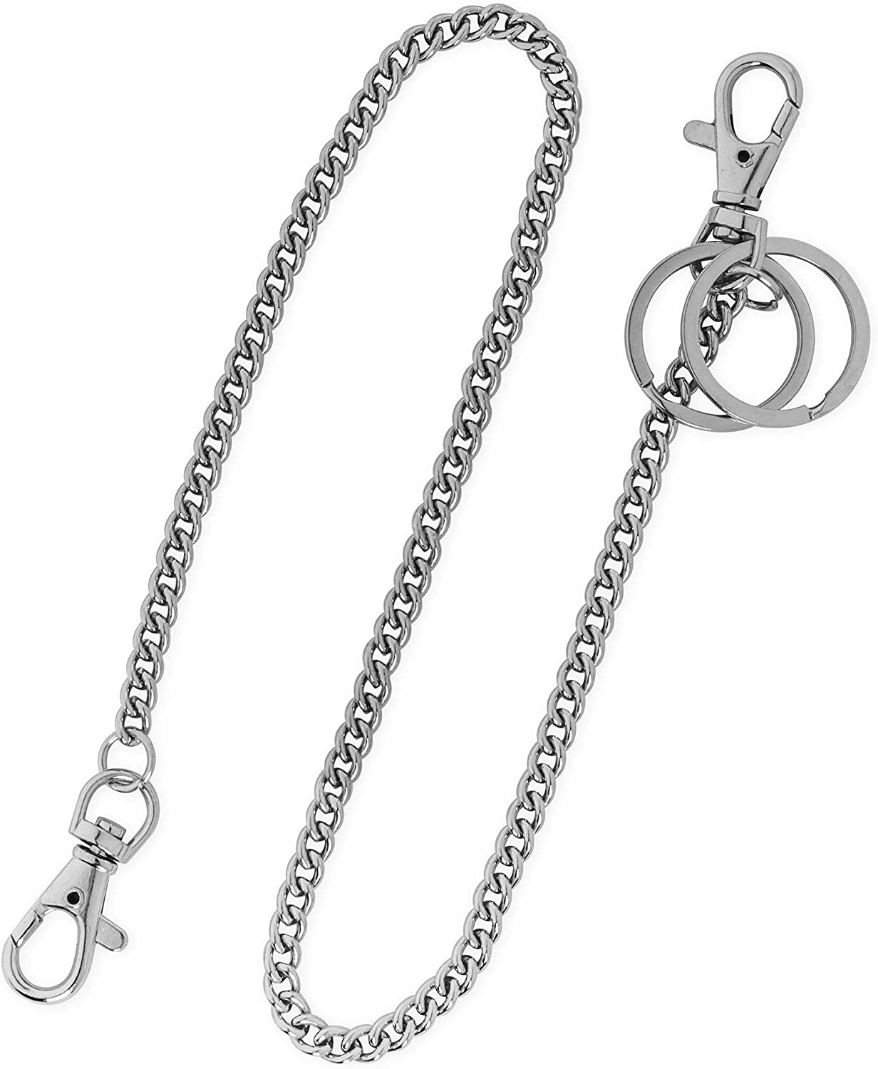 Keys Purse Handbag Strap and Traveling Wallet 18 Silver Nickel Plated Pocket Keychain String with Both Ends Lobster Claw Clasp Trigger Snap Handle for Belt Loop