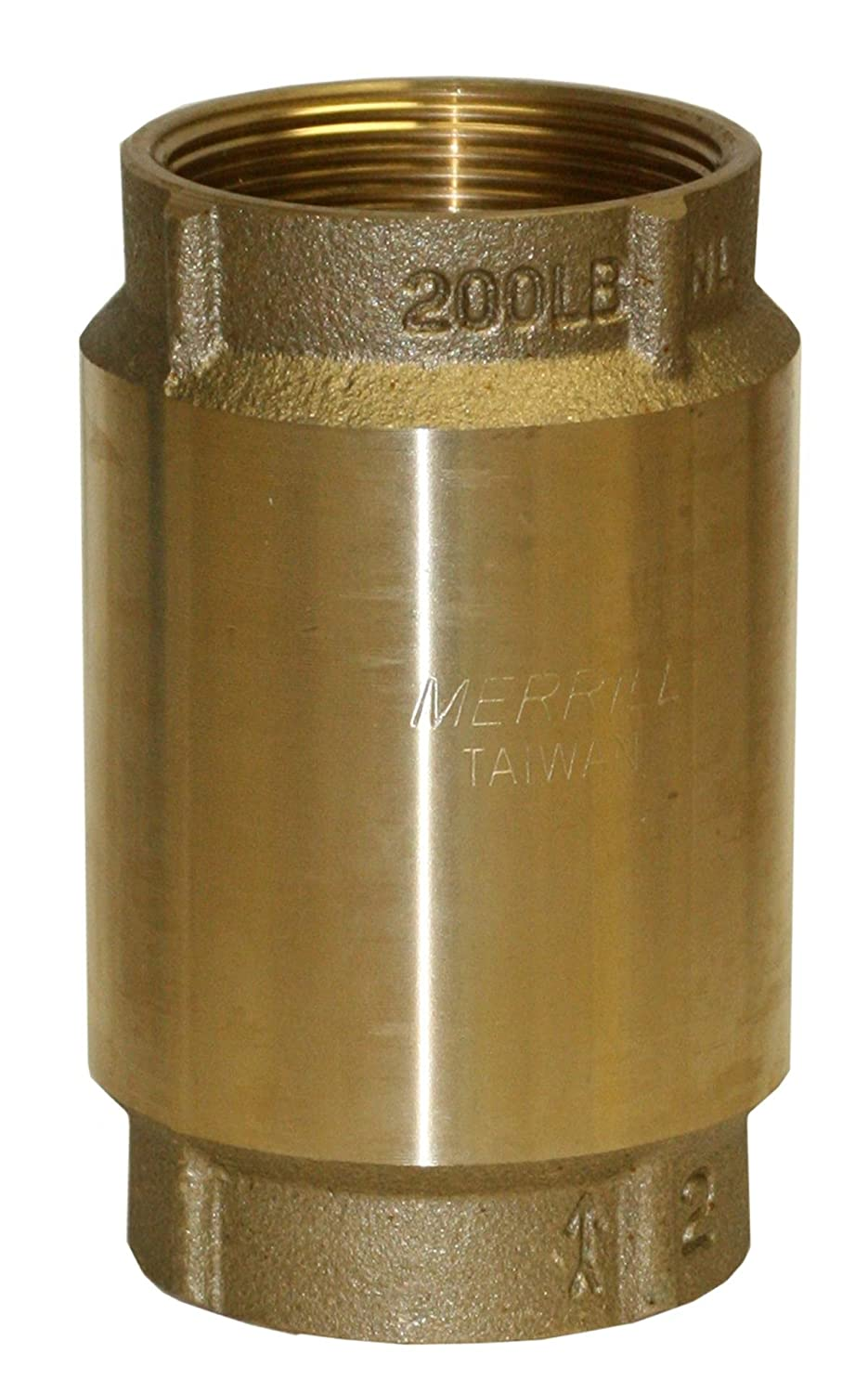 "Merrill MFG CVNL200 700 Series No Lead Brass Check Valve, Pipe Size 2"", No Spin Poppet, 4.73"""