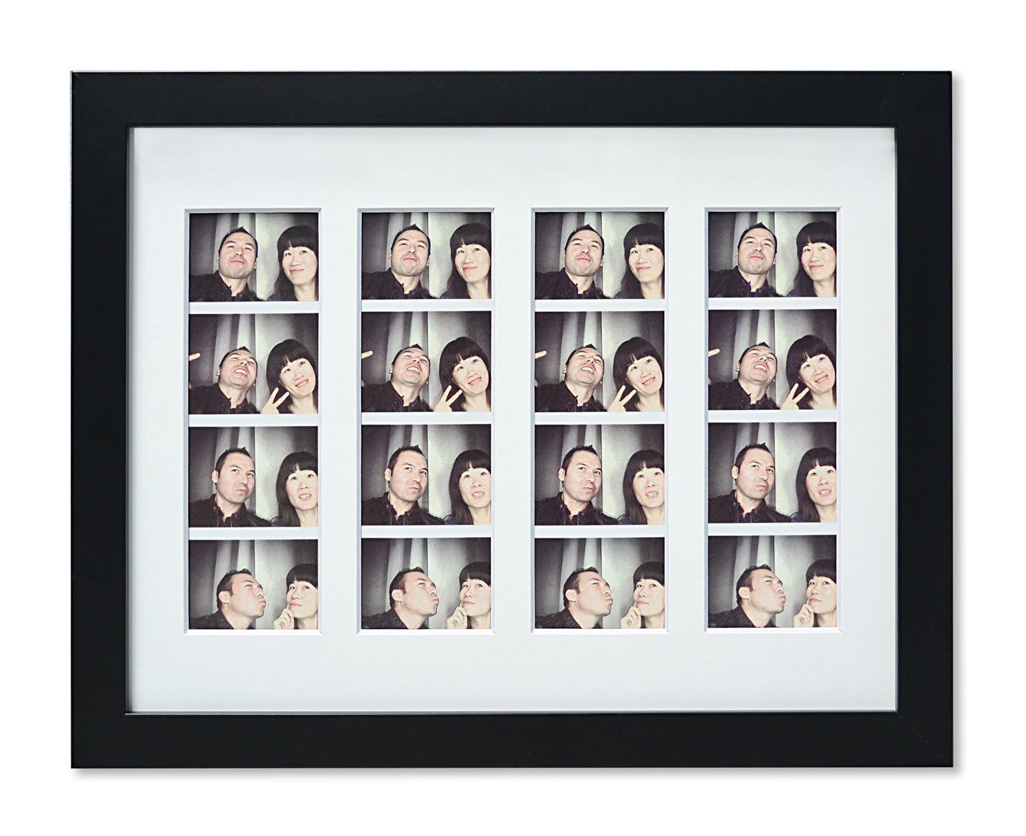 Golden State Art, 8.5x11 Photo Frame with mat for 4 2x6 Photo Booth Pictures with, Black. Includes Real Glass & Easel Back Display - New Photo Booth Frame with White Mat & Real Glass. Outside frame size: 9x12 inches Can display 4 2x6 photo booth strips or 8.5x11 photo without mat With 2 hangers in the back for vertical and horizontal hanging options & Easel Stand for table-top display. - picture-frames, bedroom-decor, bedroom - 71y2Jb%2BX4tL -