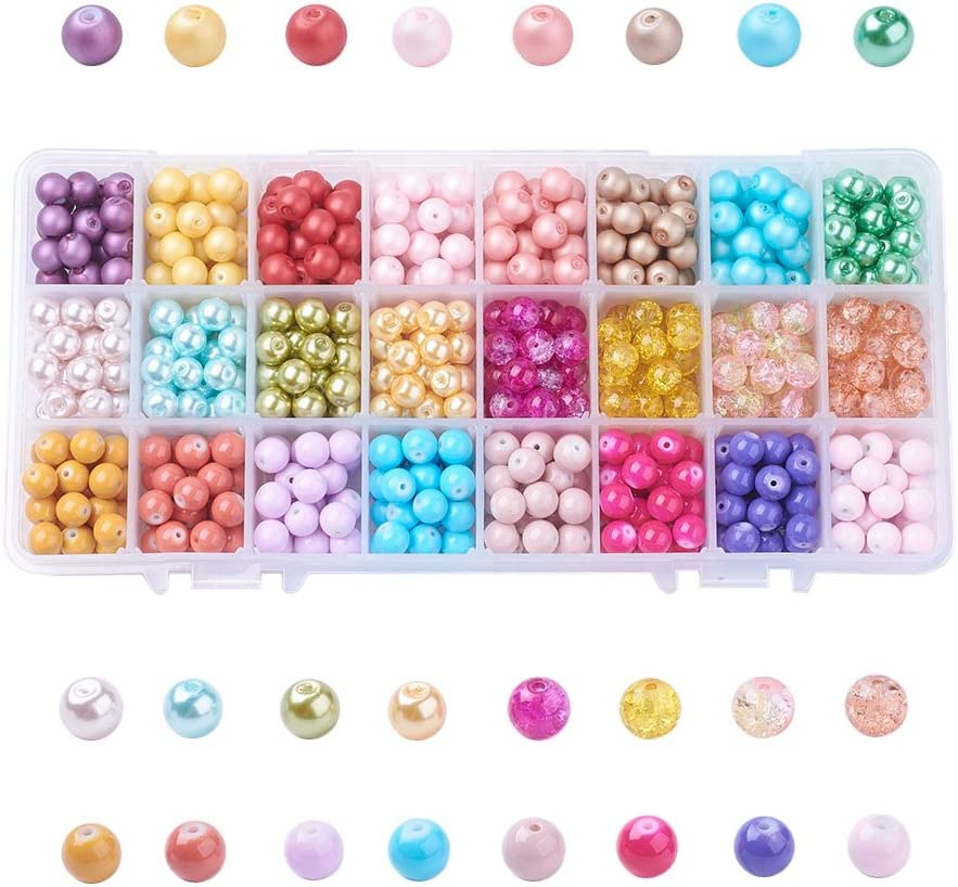 Wholesale 30pcs 8mm  Glass Pearl Round Spacer Loose Beads mixed colour