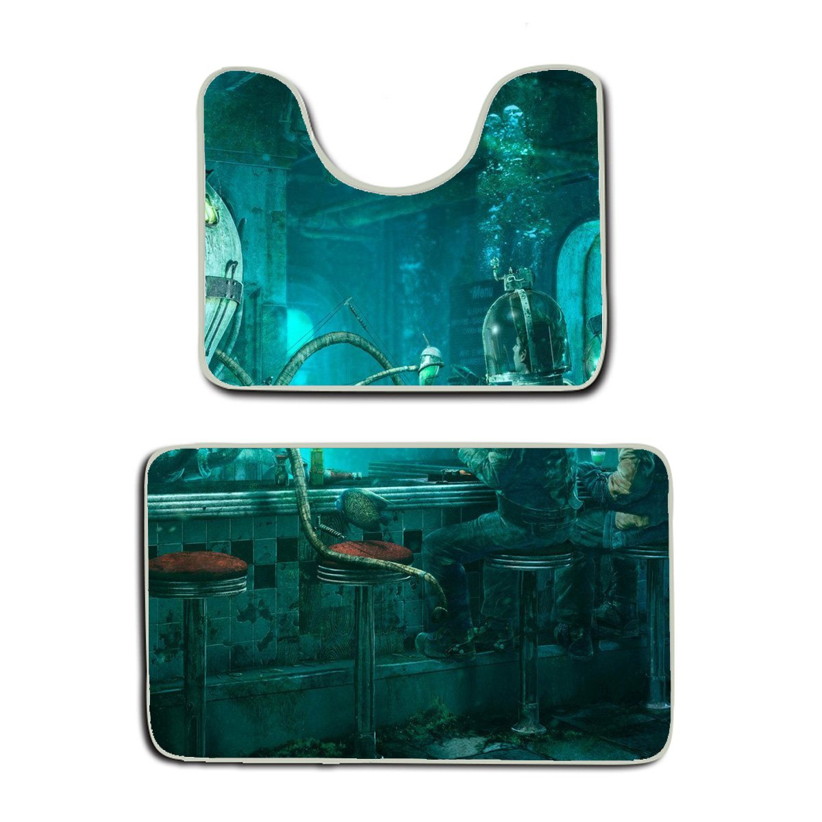 AMERICAN TANG Memory Foam 2 piece bathroom rug set - Steampunk Octopus Video Game Art Nautical - Skidproof bath Mat And Toilet Seat Contour Cover rug
