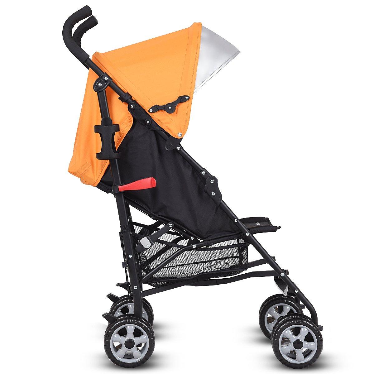 INFANS Lightweight Baby Umbrella Stroller, Foldable Infant Travel Stroller with 4 Position Recline, Adjustable Backrest, Cup Holder, Storage Basket, UV Protection Canopy, Carry Belt (Orange) by INFANS (Image #3)