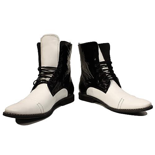 Modello Troopero - Cuero Italiano Hecho A Mano Hombre Piel Blanco Botas Altas - Cuero Cuero Suave - Encaje: Amazon.es: Zapatos y complementos