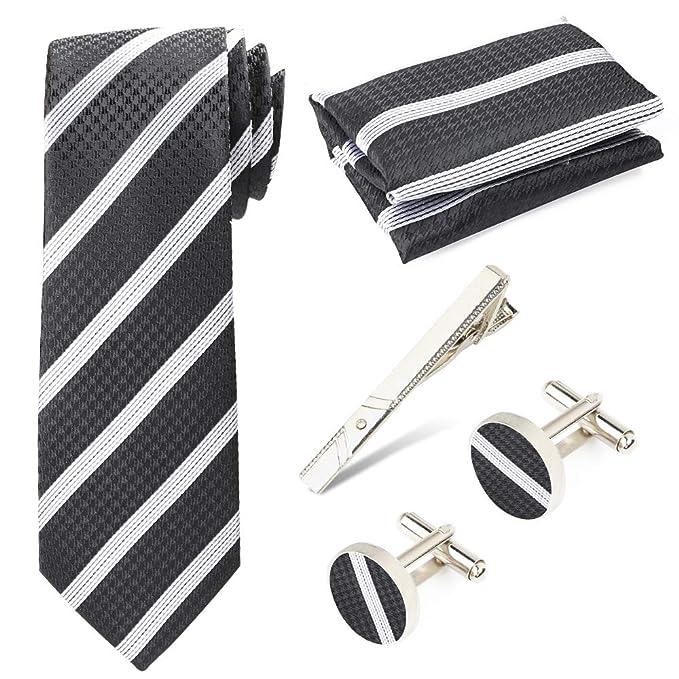 Beelittle Corbata con corbata de bolsillo para hombre ...