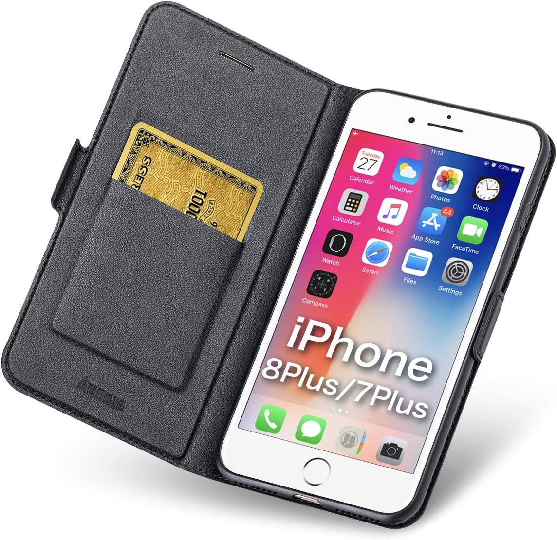Aunote iPhone 7 Plus/8 Plus Wallet Case, iPhone 7Plus/8Plus Phone Case, Slim Flip/Folio Cover – Book Style: Made of PU Leather Shell (Lightweight, Feels Good) and TPU Inner - Full Protection. Black