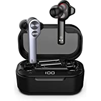 Ture Wireless Earbuds,Tws Bluetooth Earphone Dual Dynamic Drives Touch Control IPX5 Waterproof Headphone Noise Cancelling Headset with LED Display Charging Case 35 Hours Playing Time(Grey)