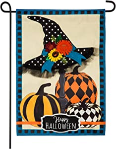 Evergreen Flag Beautiful Halloween Witch Hat and Pumpkins Applique Garden Flag - 13 x 18 Inches Fade and Weather Resistant Outdoor Decoration for Homes, Yards and Gardens