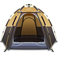 Toogh 3-4 Person Camping Tent Backpacking Tents Hexagon Sun Dome Automatic Pop-Up Outdoor Sports Tent