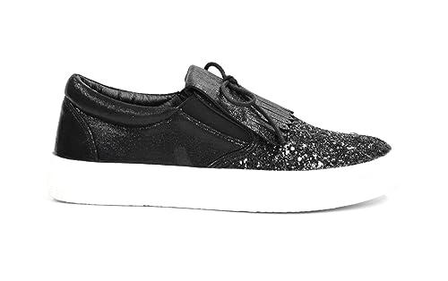 shy40 * Zapatillas Tenis Sneakers Slip-on purpurina y tejido brillante con lengüeta flecos étnico