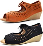 Ziaula Women Fashion Wedges Heel Sandal Combo Pack