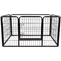 PawHut Metal Dog Cat Exercise Pet Playpen, 49.2-inch x 31.5-inchx 27.6-inch, Black