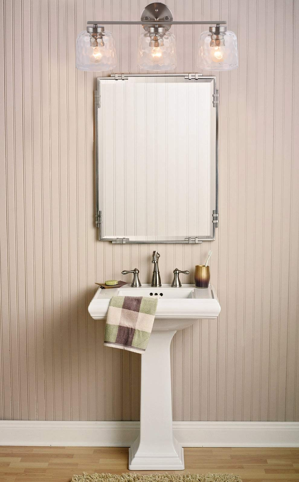 Alice House 20'' Vanity Lights with Hammered Glass, 3 Light Wall Lighting, Brushed Nickel Bathroom Lights Over Mirror, Bathroom Lighting AL6091-W3 by ALICE HOUSE (Image #5)