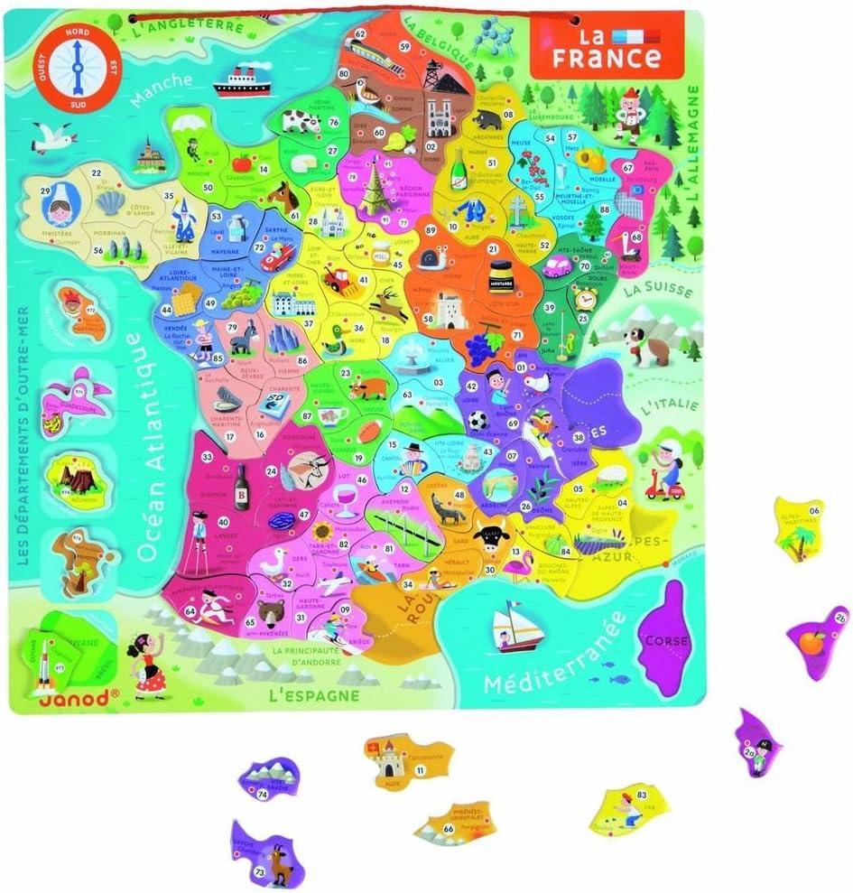 Janod - Puzzle magnético de Francia en francés (J05486): Amazon.es: Juguetes y juegos
