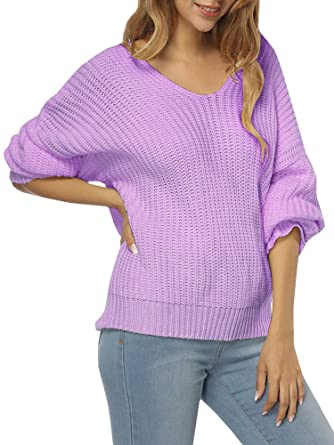4cea71266 Womens Sweaters Oversized V Neck Off Shoulder Long Sleeve Cable Knit ...