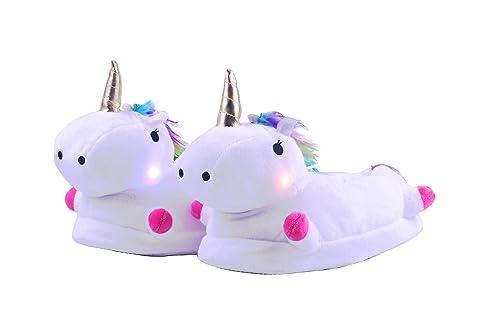Zapatillas de Estar por Casa de Mujer Niños Unicornio Felpa Suave LED Luminoso Calentar Pelusa con Forro Acolchado Zapatos para Invierno Interior,Talla EU ...