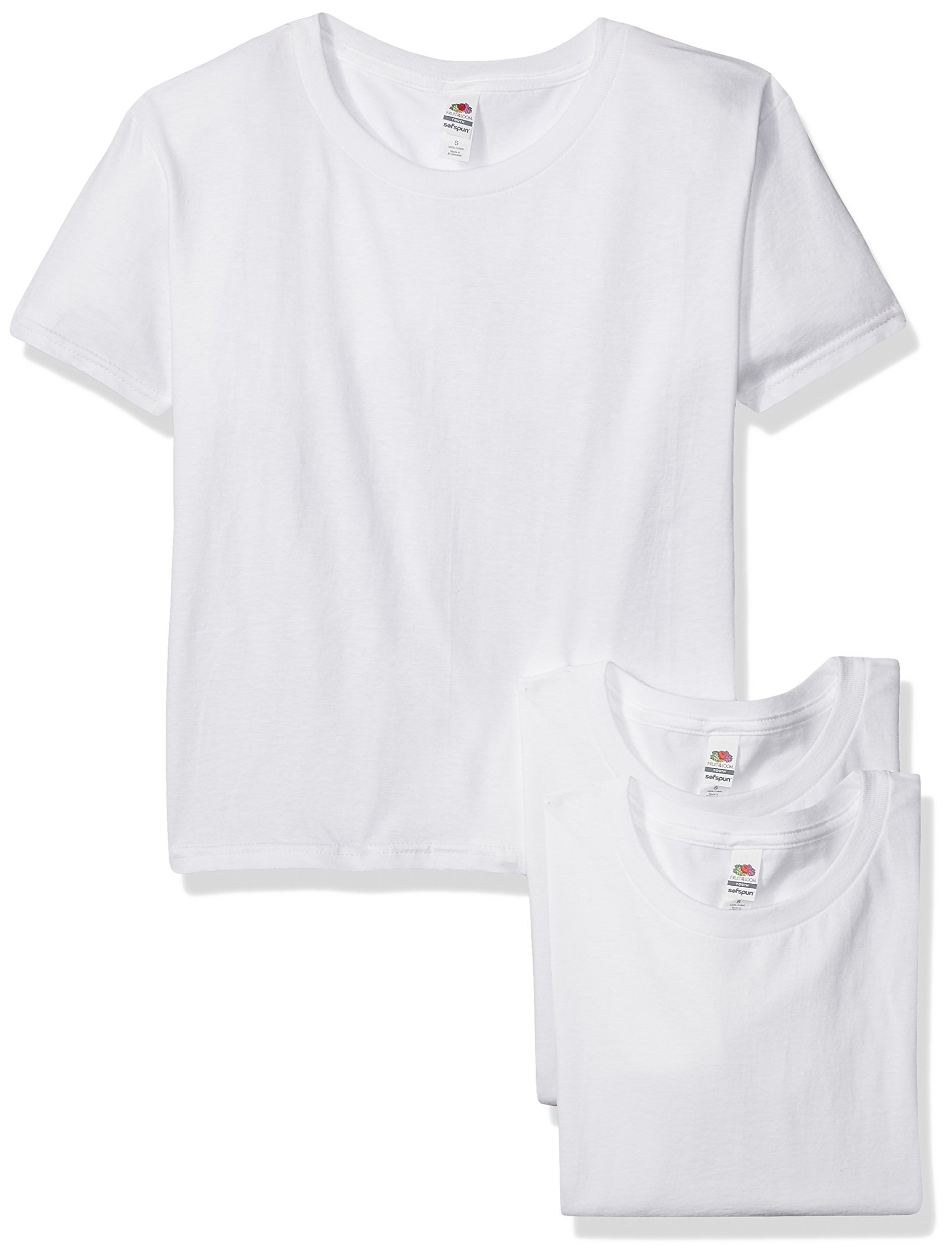 Fruit of the Loom Big Boys' Sofspun Youth T-Shirt (3-Pack),White,Large