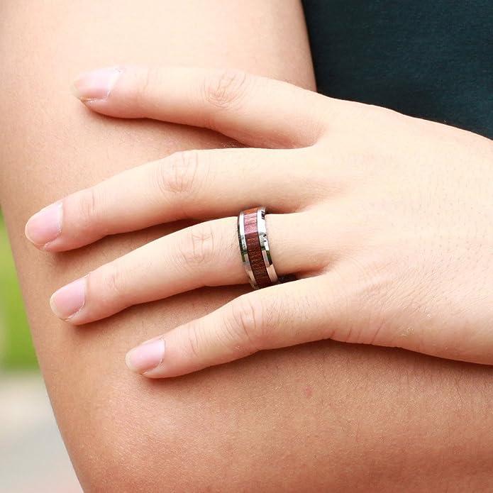 trusuper joyería tungsteno 8 mm anillo de madera de Koa: Amazon.es: Joyería