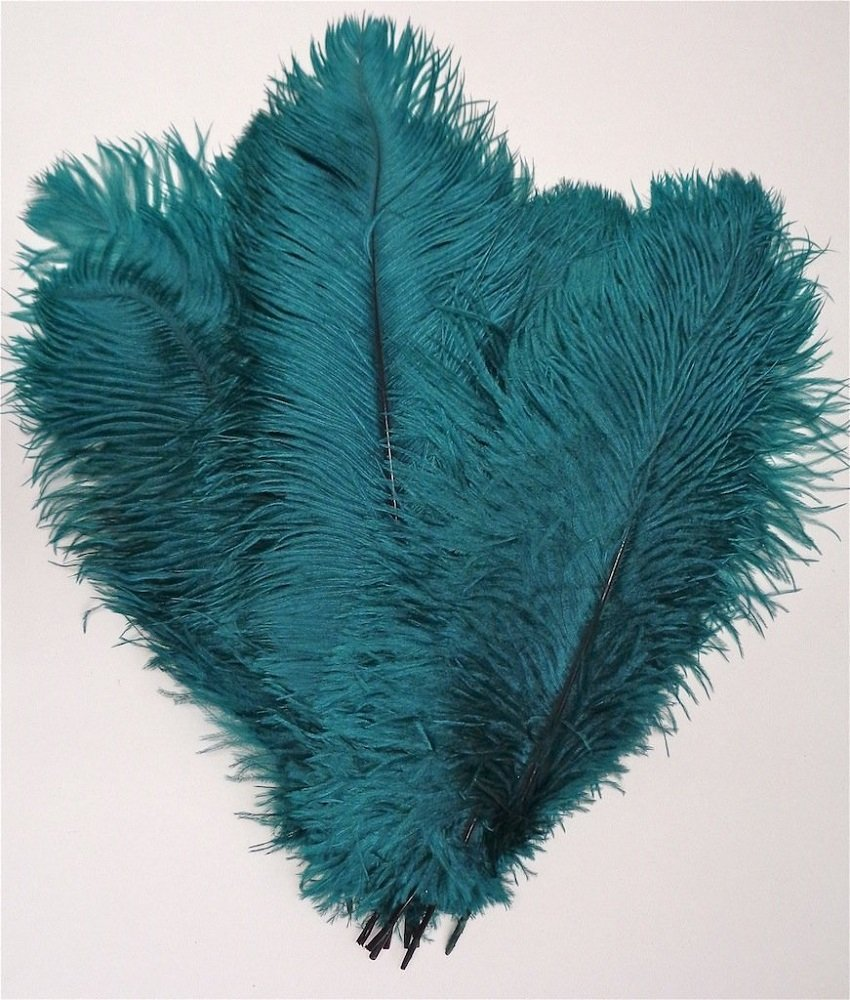 MELADY Pack of 200pcs Natural Ostrich Feathers 18-20inch(45~50cm) for Home Wedding Party Decoration (Teal)