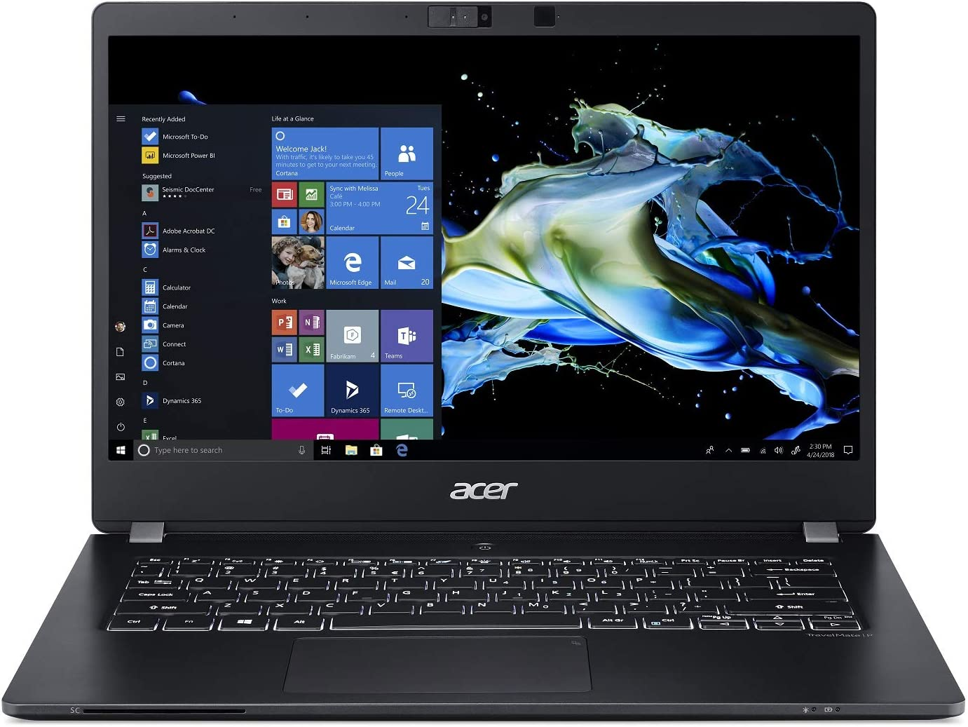 "Acer TravelMate P6 Thin & Light Business Laptop, 14"" FHD IPS Touch, Intel Core i7-8565U, NVIDIA MX250, 16GB DDR4, 512GB SSD, 12 Hrs Battery, Win 10 Pro, TPM 2.0, Mil-Spec, FPR, TMP614-51TG-792V"