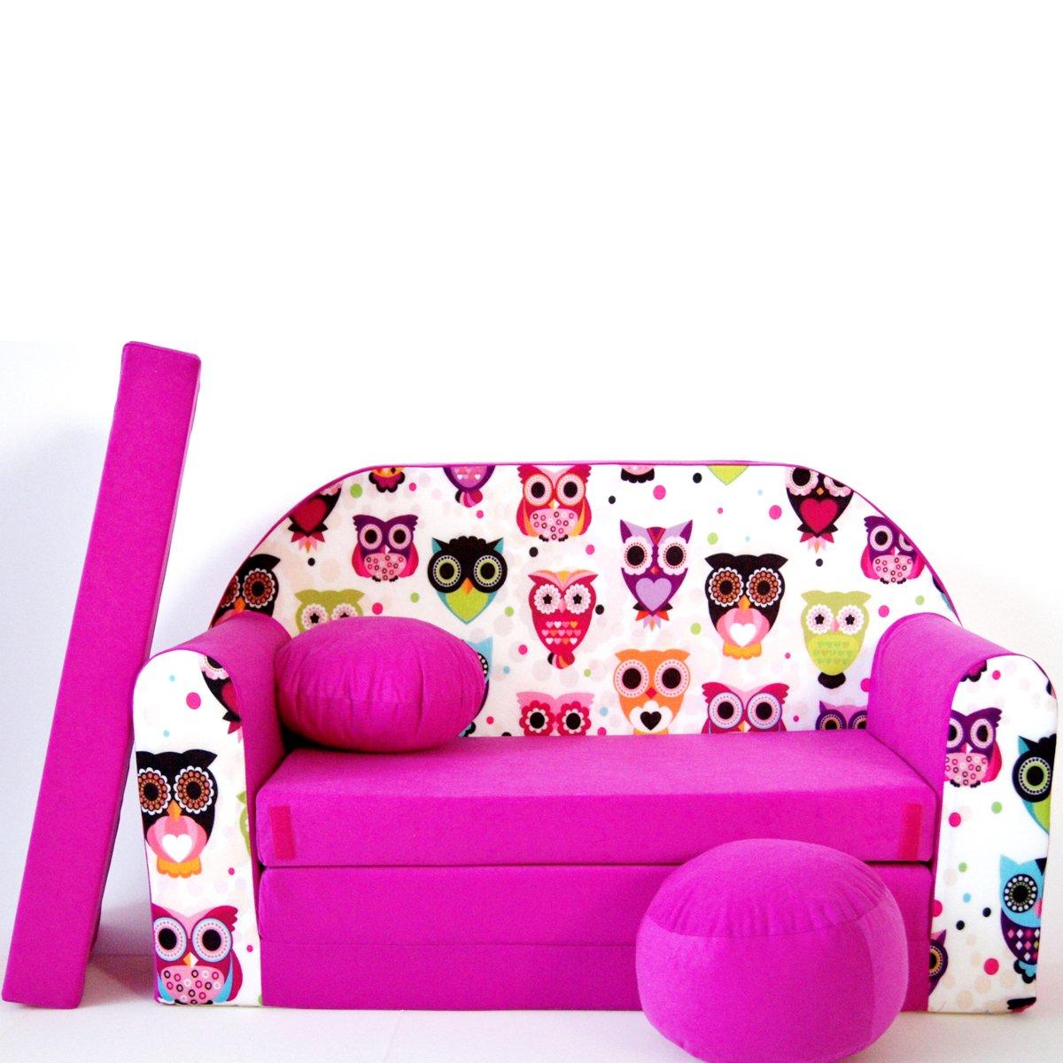 Barabike Kindermöbel H17 Canapé-lit pliant pour enfants 3en1 avec pouf, coussin et matelas SOF061