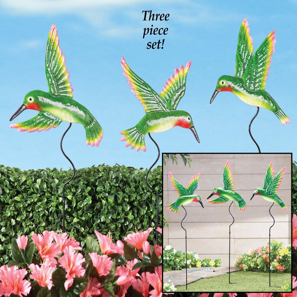 Amazon.com: Moving Hummingbird Garden Decor Yard Stakes - Set Of 3 ...