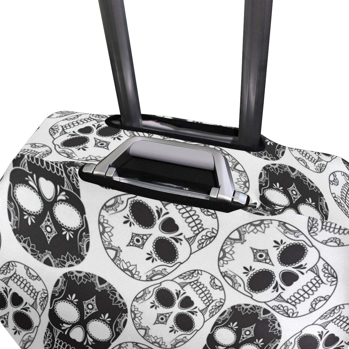 Dark Grey Fashion Skull Traveler Lightweight Rotating Luggage Protector Case Can Carry With You Can Expand Travel Bag Trolley Rolling Luggage Protector Case