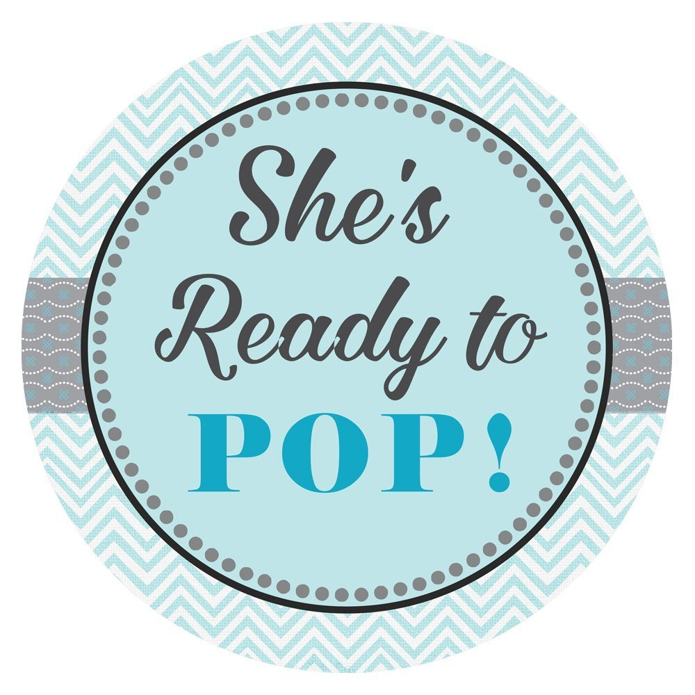 She is Ready to Pop Sticker Labels - Baby Boy Shower Party Favor Sticker in Blue Chevron - Set of 30