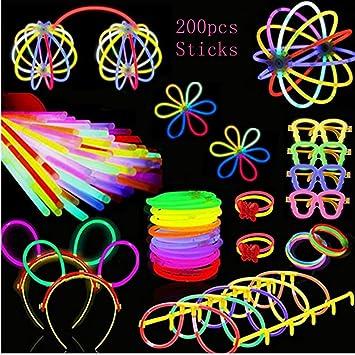 Pack de 200 Pulseras Luminosas Fluorescentes Barras Luminosas Collares Gorra Gafas Pendientes Pulseras Glow Palo de luz Partido Tubos Fluorescentes,Gafas Luminosas, Diadema, Flores, Bola Luminosa: Amazon.es: Juguetes y juegos