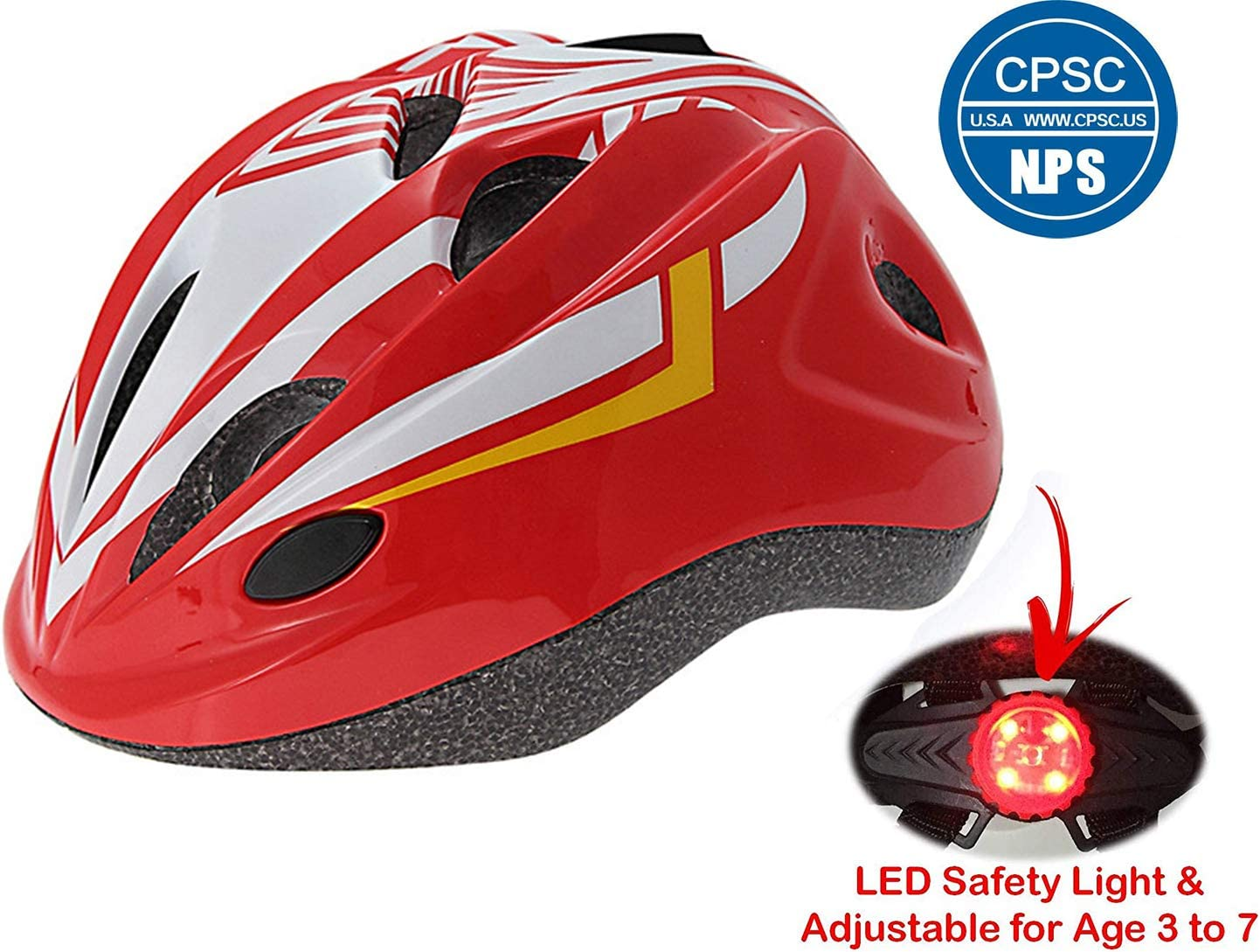 Cloubike Kids Bike Helmet with LED Safety Light and CPSC Certified for Kids Cycling Safety Protection-Adjustable Large Size 19.68-22.83 Inches Ages 3-7