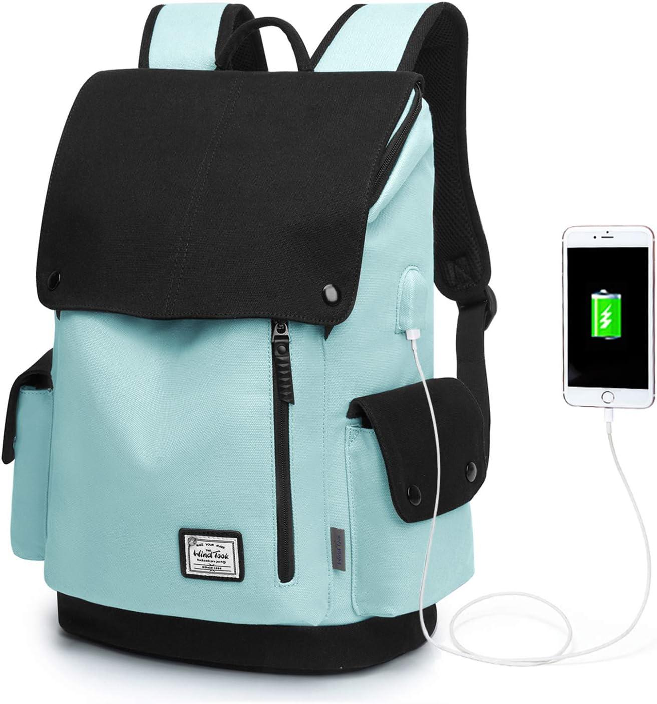 WindTook Mochila Universitaria Mujer de Lona 15.6 Pulgadas Mochila Ordenador Portatil con Puerto de USB para Escolares Mochila de Hombre Multiusos Dackpack para Viaje Trabajo BLU