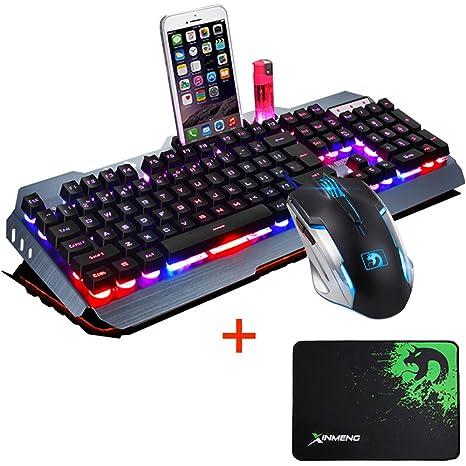 FELiCON Ratón de teclado combinado Con cable LED retroiluminado Teclado de metal Usb Pro Gaming 2400DPI