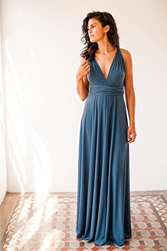 Indigo blue bridesmaid dress, denim blue long bridesmaid dress, riverside blue infinity dress,