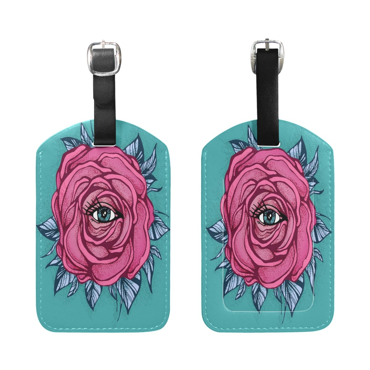 Saobao Travel Luggage Tag Pink Tattoo Rose PU Leather Baggage Travel ID